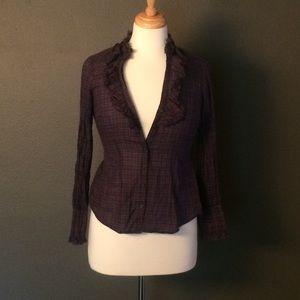 Ann Taylor Loft 2P Purple Ruffle Long Sleeve Top